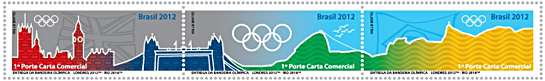 Se-tenant strip of 3 stamps from Brazil's first issue for 2016 Rio Olympic Games