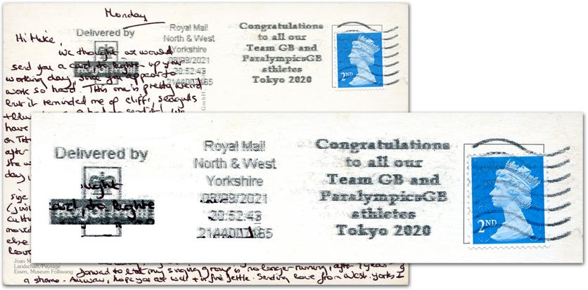 Royal Mail postmark honoring Team GB 2020 Tokyo Olympians.